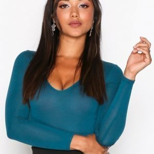 Nly One Scoop Neck Ls Body Teal