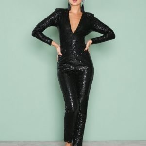 Nly One Sequin Bodysuit Jumpsuit Musta