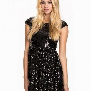 Nly One Sequin Skater Dress Paljettimekko Musta