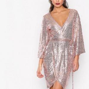 Nly One Sequin Wrap Dress Paljettimekko Rose