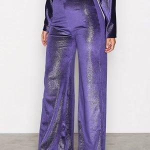 Nly One Shimmer Velvet Pant Samettihousut Sininen