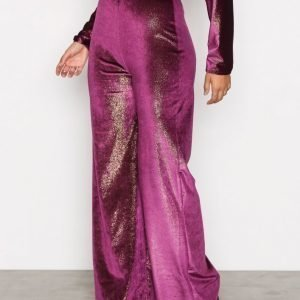 Nly One Shimmer Velvet Pant Samettihousut Violetti