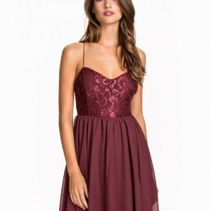 Nly One Shimmery Flare Dress Skater Mekko Burgundy