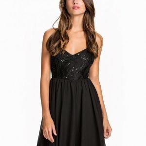 Nly One Shimmery Flare Dress Skater Mekko Musta