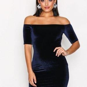 Nly One Short Sleeve Velvet Dress Kotelomekko Navy