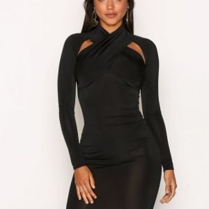 Nly One Shoulder Cut Dress Kotelomekko Musta