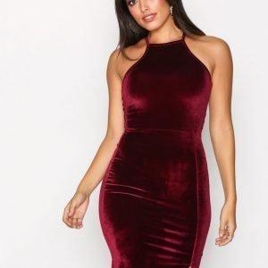 Nly One Slit Mini Velvet Dress Kotelomekko Burgundy