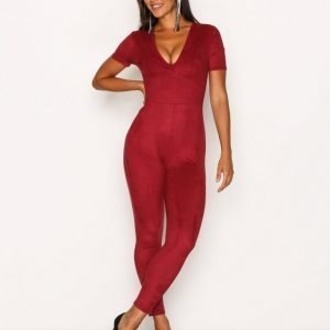 Nly One Suede Plunge Jumpsuit Burgundy