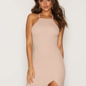 Nly One Thigh Slit Dress Kotelomekko Beige