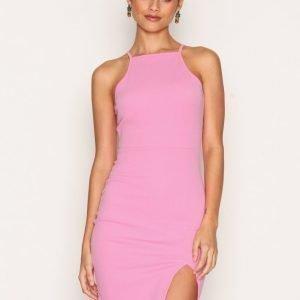 Nly One Thigh Slit Dress Kotelomekko Vaaleanpunainen