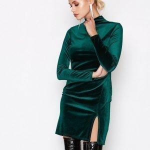 Nly One Thigh Slit Velvet Dress Kotelomekko Vihreä