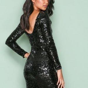 Nly One Tight Sequin Dress Paljettimekko Musta