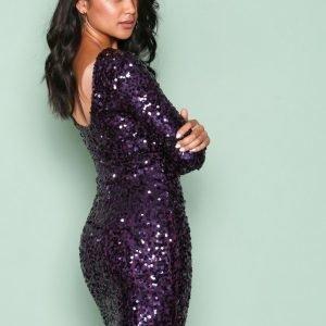 Nly One Tight Sequin Dress Paljettimekko Violetti