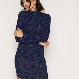 Nly One Turtle Neck Curve Dress Kotelomekko Musta / Sininen