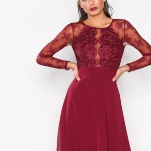 Nly One Whenever Lace Dress Skater Mekko Burgundy