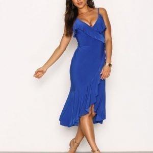 Nly One Wrap Frill Midi Dress Loose Fit Mekko Royal Blue