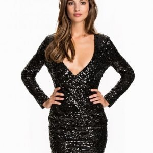 Nly One Wrap Sequin Dress Paljettimekko Musta