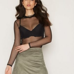 Nly Trend A Lined Suede Like Skirt Minihame Khaki