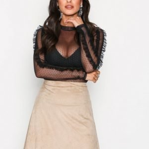 Nly Trend A Lined Suede Like Skirt Minihame Toffee