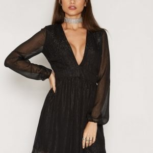Nly Trend Awake Glitter Dress Loose Fit Mekko Musta