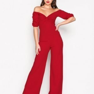 Nly Trend Bardot Jumpsuit Punainen