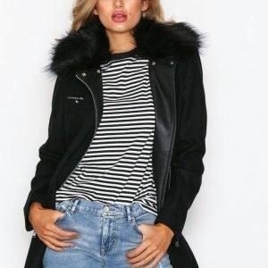 Nly Trend Biker Fur Coat Pitkä Takki Musta