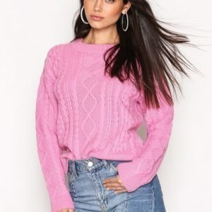 Nly Trend Cable Knit Sweater Neulepusero Vaaleanpunainen