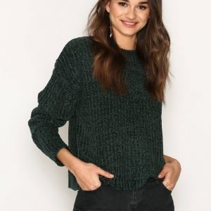 Nly Trend Chenille Sweater Neulepusero Smaragdinvihreä