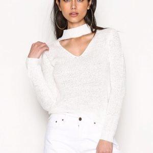 Nly Trend Choker Knit Polo Neulepusero Valkoinen