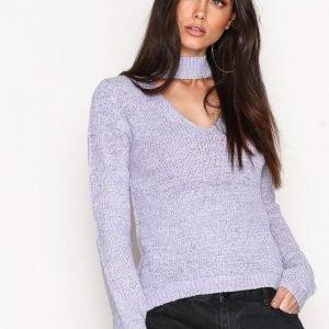 Nly Trend Choker Knit Polo Neulepusero Violett