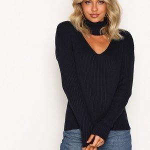 Nly Trend Choker Knit Sweater Neulepusero Laivastonsininen