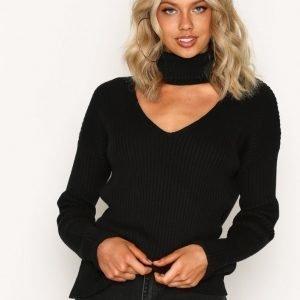 Nly Trend Choker Knit Sweater Neulepusero Musta
