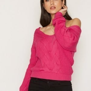Nly Trend Cosy Shoulder Knit Neulepusero Fuchsia