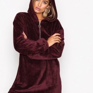 Nly Trend Cozy Zip Hoodie Dress Loose Fit Mekko Burgundy
