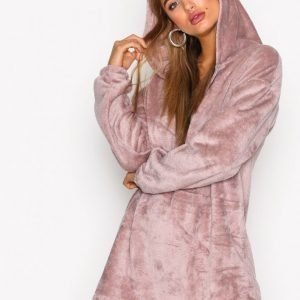 Nly Trend Cozy Zip Hoodie Dress Loose Fit Mekko Dusty Rose
