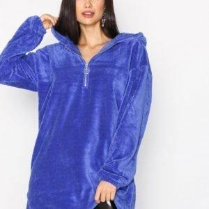 Nly Trend Cozy Zip Hoodie Dress Loose Fit Mekko Sininen