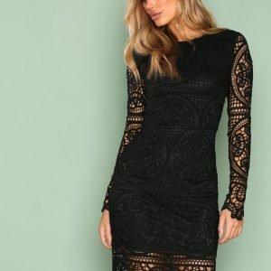 Nly Trend Crochet Midi Dress Kotelomekko Musta