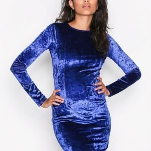 Nly Trend Crushed Velvet Mini Dress Kotelomekko Cobolt Blue