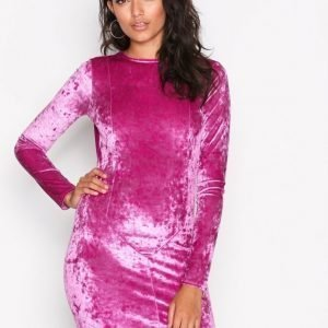 Nly Trend Crushed Velvet Mini Dress Kotelomekko Fuchsia
