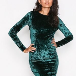 Nly Trend Crushed Velvet Mini Dress Kotelomekko Tummanvihreä