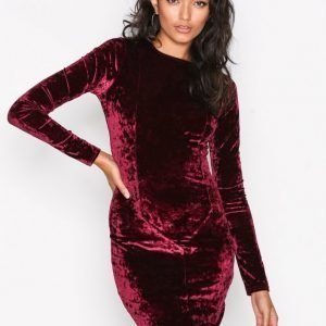 Nly Trend Crushed Velvet Mini Dress Kotelomekko Wine
