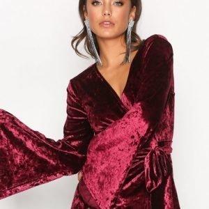 Nly Trend Crushed Velvet Wrap Top Pitkähihainen Paita Burgundy