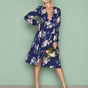 Nly Trend Deep V Midi Dress Loose Fit Mekko Kuviollinen