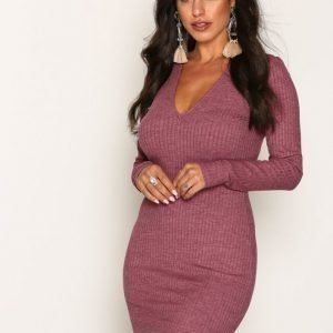 Nly Trend Deep V Wide Rib Dress Kotelomekko Burgundy