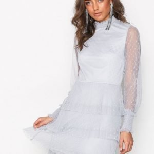 Nly Trend Dotted Frill Dress Skater Mekko Vaaleanharmaa