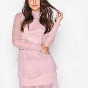Nly Trend Dotted Frill Dress Skater Mekko Vaaleanpunainen