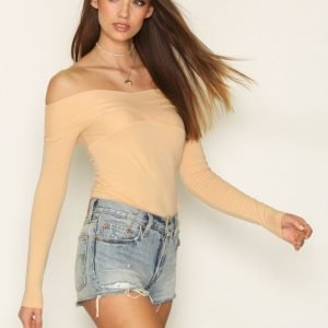 Nly Trend Draped Shoulder Top Pitkähihainen Paita Honey Peach