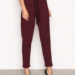 Nly Trend Dressed Tie Pants Housut Burgundy