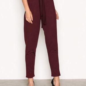 Nly Trend Dressed Tie Pants Housut Burgundy