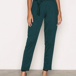 Nly Trend Dressed Tie Pants Housut Dark Green